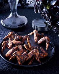 """""""Bat"""" Wings (Soy Glazed Chicken Wings). A111113 Food & Wine Halloween w/Neil Patrick Harris & David Burtka Oct 2012"""